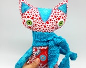 Patriotic plush Cat with red stars and green eyes, stuffed Cat Toy in blue red and white, soft cloth Kitty plushie decor and birthday gift.