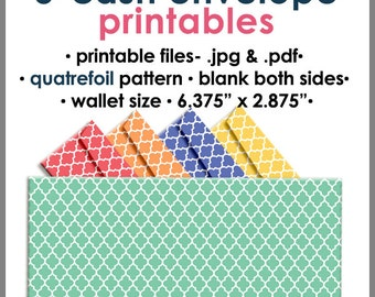 Printable Blank Cash Envelope WALLET Size QUATREFOIL, Money Budget Envelopes, Cash Organizer - Set of 5, PB1528