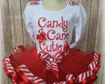 Candy Cane Cutie Red and White Ribbon Trim Tutu Outfit