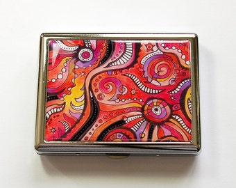 Metal cigarette case, Cigarette box, Metal Wallet, Cigarette Case, abstract design, Bright Colors, Made in Canada, stainless steel (4984)