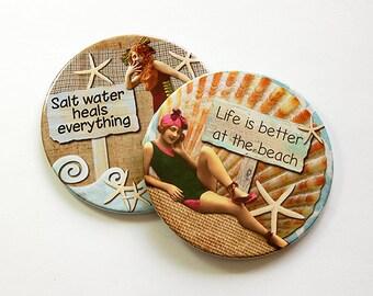 Beach Decor, Drink Coasters, Coasters, Beach Coasters, Hostess Gift, Beach Lover, Summer Vacation, Barware, Beach Life (5036h)