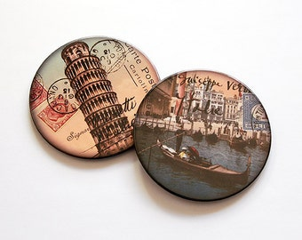 Travel Coasters, Set of Coasters, Drink Coasters, Hostess Gift, Barware, Home Decor, Coasters, Travel, Pisa, Venice, Italy (5040f)