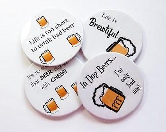 Beer Coasters, Drink Coasters, Coasters, Tableware, Beer Lover, Beer Drinker, Gift for Dad, Gift for Him, Stocking Stuffer, Dog Beers (5042)