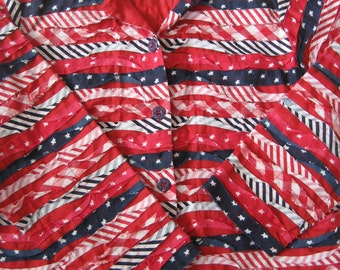 SALE !! American Flag Jacket  - 100% Cotton - Stars and Stripes - Ladies XL