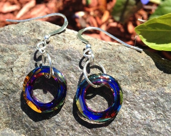 Volcano Swarovski Crystal Earrings, multi colored earrings, sterling silver, womens crystal jewelry, dangle earrings, handmade jewelry