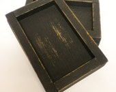 Candle Box Holder, Country Collectible Box, Distressed Black Container, Primitive Wood Box