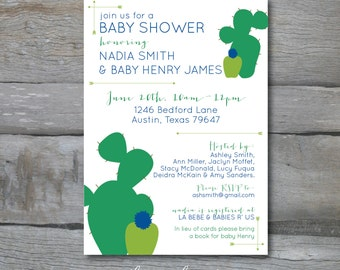 Cactus Desert Baby Shower Invite