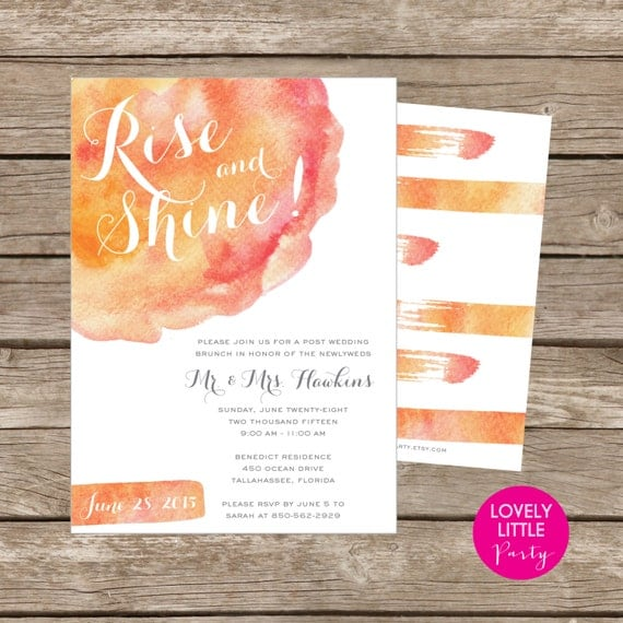 Watercolor Post Wedding Brunch/Breakfast Invitation DIY Printable -  Lovely Little Party