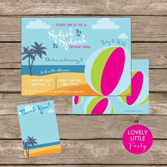 DIY Beachy Splish Splash Birthday Invitation Kit - Invite AND Thank You Card included