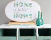 Home Sweet Home wall art - New home gift -  Embroidery Hoop art - Home sweet home sign - Appliqué art - Textile art - Liberty fabric art