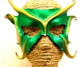 Pixie Sprite, Green and Gold Leather Art Mask, Mischievous Faery Mask with Horns and  Ears