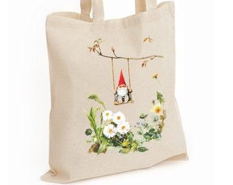 Gnome on a Swing Reusable Shopper Bag, Cotton Tote, Shopping Bag, Eco Tote Bag, Reusable Grocery Bag