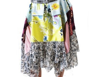 Floral Lace Multicolor Skirt, Spring Fashion, Upcycled Clothing, Boho Gypsy Recycled Repurposed Extra Small XS, Small