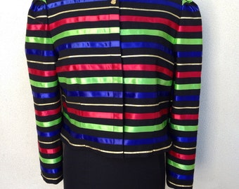 Vintage classic 1980 Jacqueline Ferrar evening jacket black With ribbons sz 14