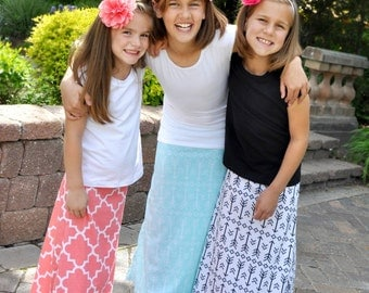 Girl Maxi Skirt, Toddler Maxi Skirt, Maxi skirt, Maxi Skirt Long, Tween Maxi Skirt - Pick Your Color