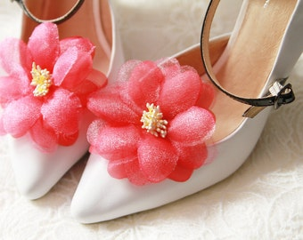 Cherry Pink Flower Shoe Clips - Wedding Shoes Bridal Couture Engagement Party Bride Bridesmaid - Cherry Red Pink