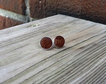 Solid 925 Sterling Silver Stud Earrings with Lacewood Inlay Handmade
