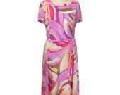 vintage sheer swirl print dress / Pucci-esque / chiffon / belted / peter pan collar / 20s silhouette / women's vintage dress / size medium