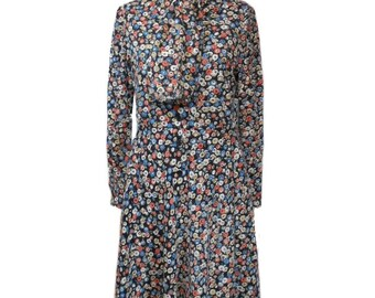 vintage 1970s ALBERT CAPRARO floral dress / ascot neck tie / shirtwaist dress / 70s day dress / women's vintage dress / tag size 12