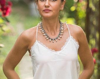 Sparkly elegant bib necklace with black, dark blue freshwater pearls, sparkly crystals, white freshwater pearls, delicate bib style necklace