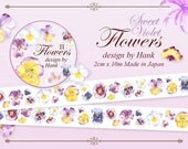 made in Japan x Taiwan Designer personal special order masking tape -Limited Edition OURS Flower 2 Sweet Violet Garden 1 ROLL