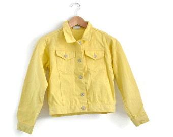Kids Yellow Denim Jacket, Vintage Denim Jacket, Girls Denim Jacket, Boys Denim Jacket,  Kids Spring jacket