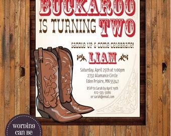 Our Little Buckaroo Western Cowboy invitation - Cowboy 1st, 2nd, 3rd, 4th, 5th, 6th, 7th birthday invitation - Item 0237