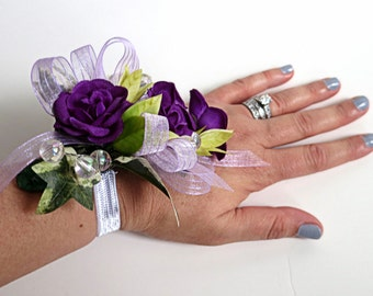 Faux Corsage - Wedding Corsage - Anniversary Corsage - Prom Corsage - Mother's Day Corsage - Purple Spray Roses Corsage
