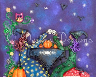 Witch Decor, Witches Tea Party Art Print, Halloween Tea Party, Witch Wall Art, Witch Print, Witch Illustration, Halloween Decor, Fall Decor
