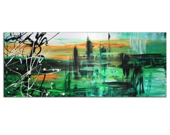 Abstract Art 'Green Valley 2' Urban Wall Decor, Modern Painting Giclee on Metal, Home/Office Contemporary Artwork by Megan Duncanson