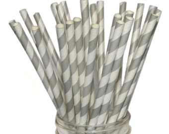 Paper Straws - 50 Grey and White Striped Paper Straws