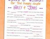 Wedding Mad Lib Guest Book Alternative - Printable Bridal Shower Game / Bachelorette Party [Words of Wisdom]