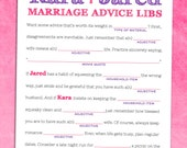 Rustic Chic Guest Book Alternative - Wedding Ad Libs - Marriage Advice Card - Printable Bridal Shower Game - Mad Libs PDF