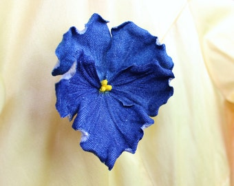 Sample Sale denim flower brooch, denim wedding, fabric pansy, cotton brooch, denim jewelry, cotton gift, cotton jewelry, jeans flower