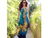 Peacock Maxi Dress / Long Maxi Dress in Blue and Yellow / Women's Maxi Dress / Cut Out Dress / Summer Dress