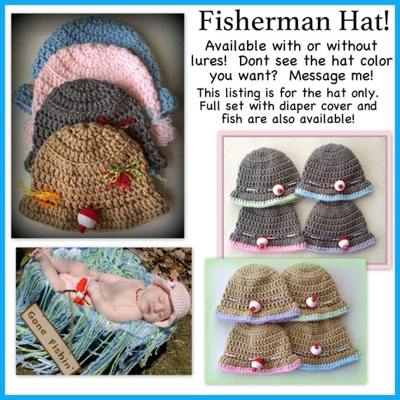 Baby fisherman hat baby fishing hat 0 3 months 3 6 for Baby fishing hat