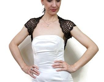 Wedding Lace Shrug, Elegant Lace Bolero, Evening Dress Bolero Jacket, Brown Dress Cover Up, Crochet Shrugs Boleros, Women Formal Wear