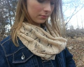 Lace cowl mother's day gift for spring summer 100% cashmere reclaimed hand knit luxury fashion scarf