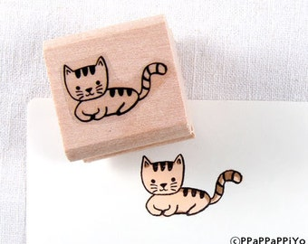 50% OFF SALE Coyly cat Rubber Stamp