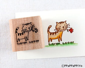 50% OFF SALE flower cat Rubber Stamp