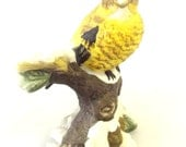 Porcelain Figurine, Bird, Evening Grosbeak, Trinket, Home Décor, Figurine, Bird Lover, Bird Watcher, American Nature