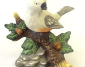 Porcelain Figurine, Bird, Tufted Titmouse, Home Décor, Woodland Theme, Nature