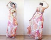 Orange yellow white floral print colorful chiffon low back maxi dress S