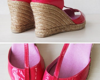 Bright lipstick pink leather summer espadrille high wedge heel shoes sandals 9.5 40