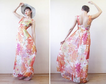 Orange yellow white floral print colorful chiffon low back maxi dress S