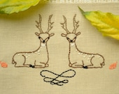 Diy gift, Hand embroidery design, woodland embroidery, deer embroidery, NaiveNeedle