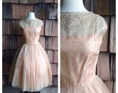 The Kiss Goodbye 1950s Blush/Nude Illusion Party Dress with Rhinestone Bodice/Embroidery Detail