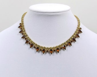 Golden Topaz and Citrine Rhinestone Necklace