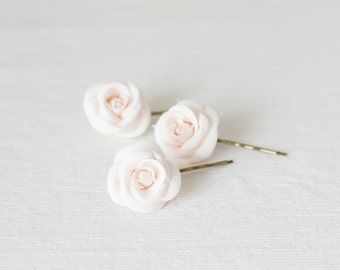 Ivory roses flower bobby pin - ivory rose hair clips - bridal hair accessories - bobby pin flowers - ivory rose hair pins - ivory hair clip