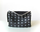 Monochrome Cross print clutch Faux vegan leather clutch Clutch bag, Clutch purse, Black and White Pouch